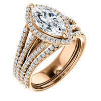 Amazing 1.50 Carat Marquise Cubic Zirconia Halo Wedding Set in Solid 14 Karat Rose Gold