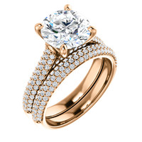 Beautiful 3 Carat Round Cubic Zirconia Wedding Set in Solid 14 Karat Rose Gold