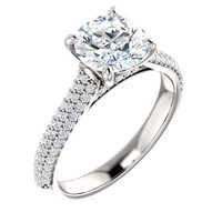 Flawless 1 Carat Round Cubic Zirconia Engagement Ring