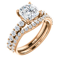 Brilliant 2 Carat Cushion Cut Cubic Zirconia Engagement Ring & Matching Band in Solid 14 Karat Rose Gold