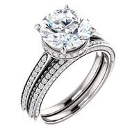 Stunning 3 Carat Round Cubic Zirconia Hidden Halo Engagement Ring & Matching Band in Solid 14 Karat White Gold