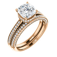 Hand Cut & Polished 2 Carat Cushion Cut Hidden Halo Engagement Ring & Matching Band in Solid 14 Karat Rose Gold