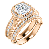 Hand Cut & Polished 2 Carat Cushion Cut Cubic Zirconia Engagement Ring & Matching Band in Solid 14 Karat Rose Gold