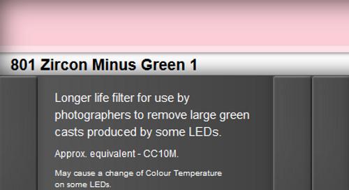 Lee Filters 801 Zircon Minus Green 1 LED Lighting Gel