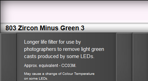 Lee Filters 803 Zircon Minus Green 3 LED Lighting Gel Sheet