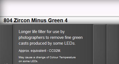 Lee Filters 804 Zircon Minus Green 4 LED Lighting Gel Sheet