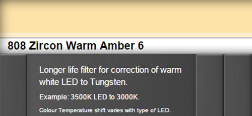 Lee Filters 808 Zircon Warm Amber 6 LED Lighting Gel Sheet