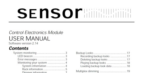 ETC Sensor Control Electronics Module V2.14 User Manual