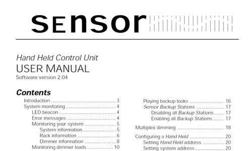 ETC Sensor Hand Held Control Unit User Manual