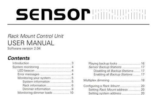 ETC Sensor Rack Mount Control Unit Manual