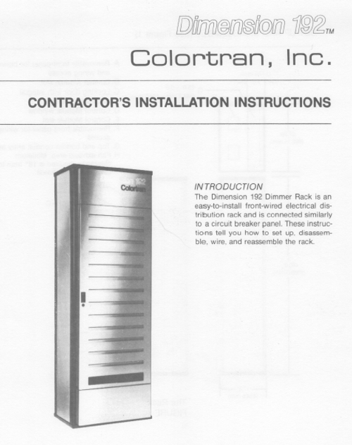 Colortran D192 Installation Manual