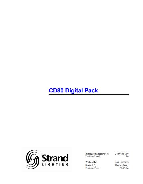 Strand CD80 Digital Pack Manual