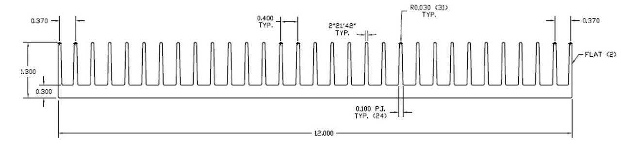 "12.000"" Wide Extruded Aluminum Heatsink"