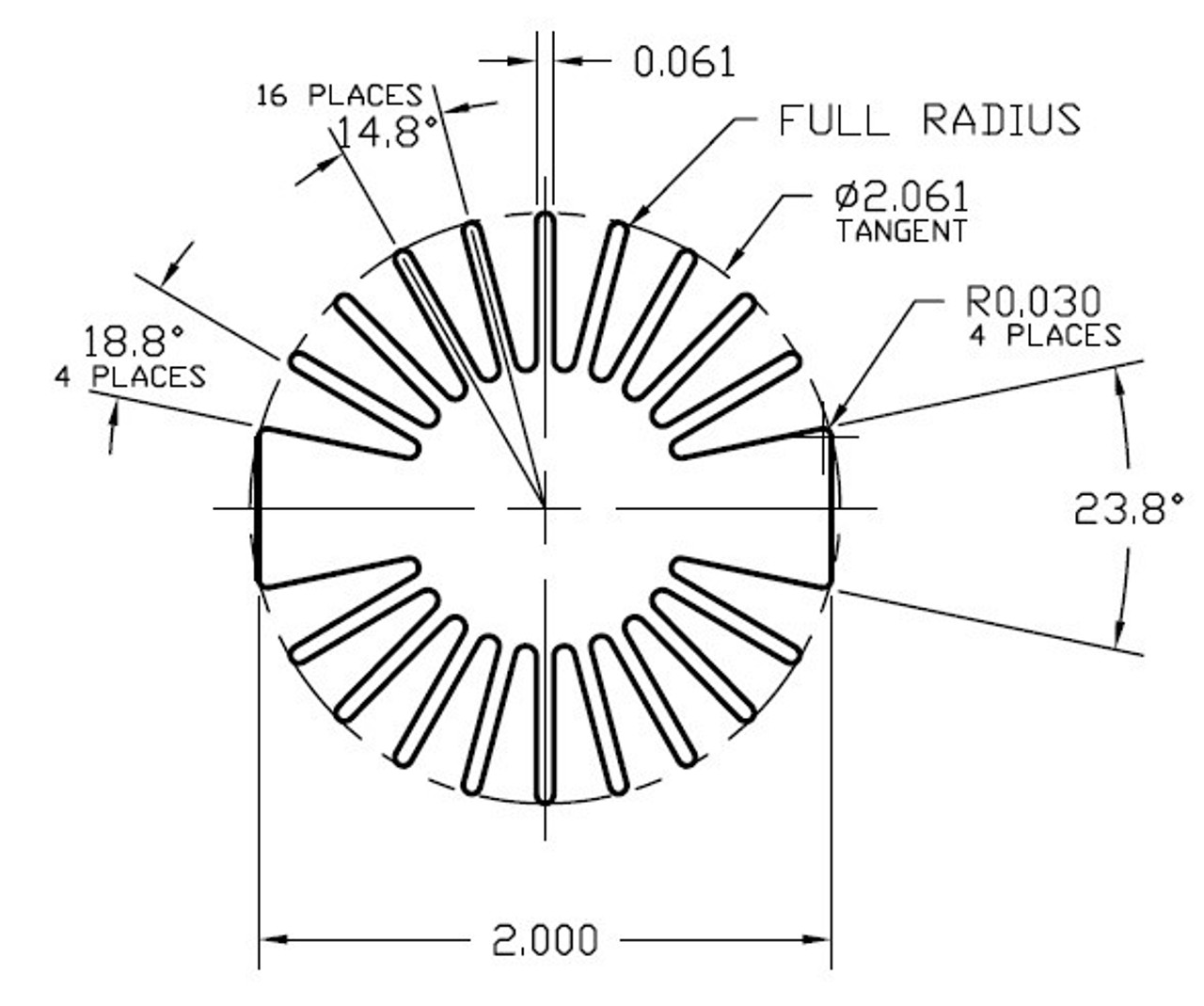 NOTE:  Inner base circle diameter is 1.00""