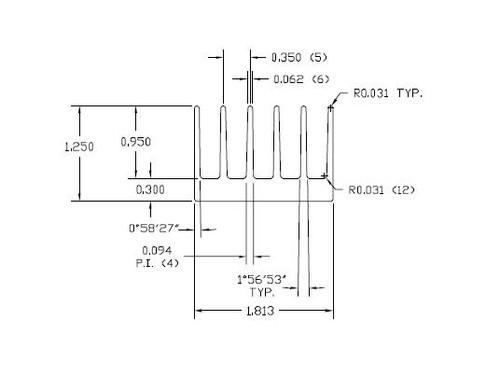 "1.813"" Wide Extruded Aluminum Heatsink"