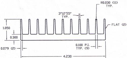 "4.230"" Wide Extruded Aluminum Heatsink"