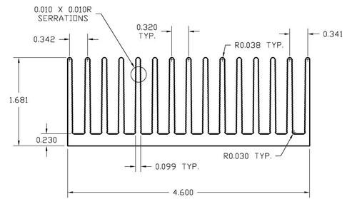 "4.600"" Wide Extruded Aluminum Heatsink"