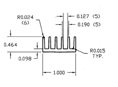 "1.000"" Wide Extruded Aluminum Heatsink"