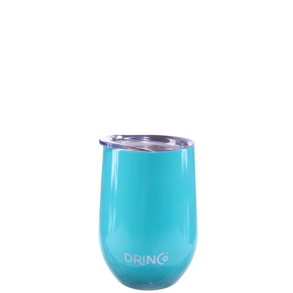 Drinco 12oz Stainless Steel Stemless Wine Glass Double Wall Vacuum Triple Insulated Tumbler Cup Mug with Press in lid, BPA Free Shatterproof, 18/8 grade (Aqua)