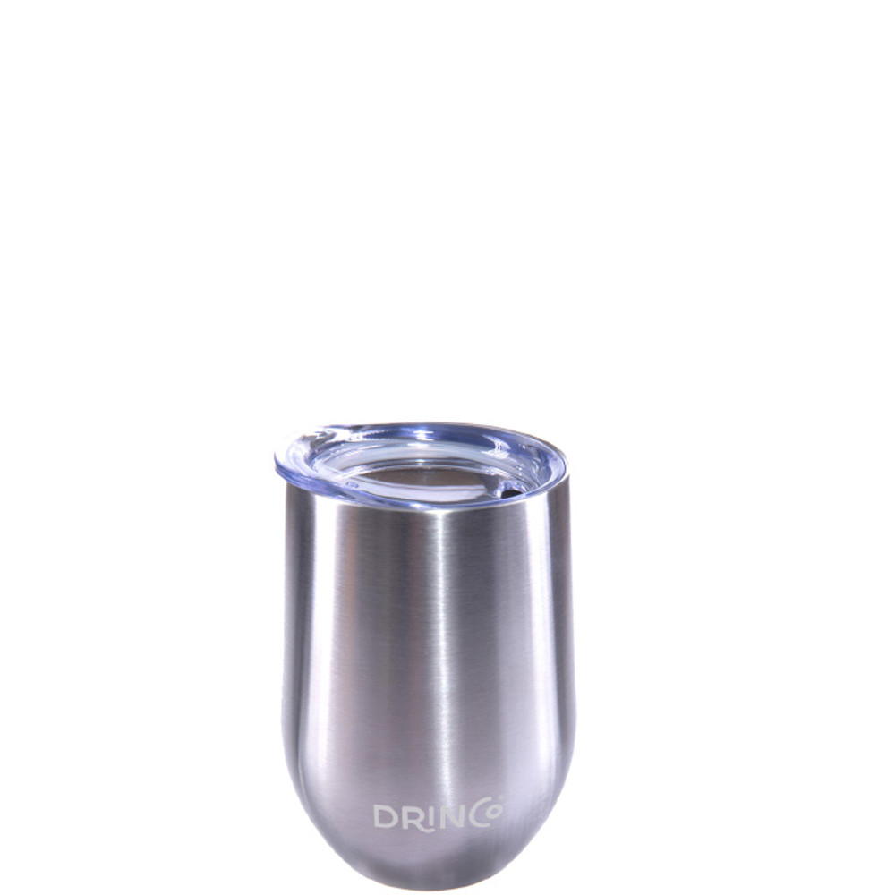 Drinco 12oz Stainless Steel Stemless Wine Glass Double Wall Vacuum Triple Insulated Tumbler Cup Mug with Press in lid, BPA Free Shatterproof, 18/8 grade (Stainless Steel)