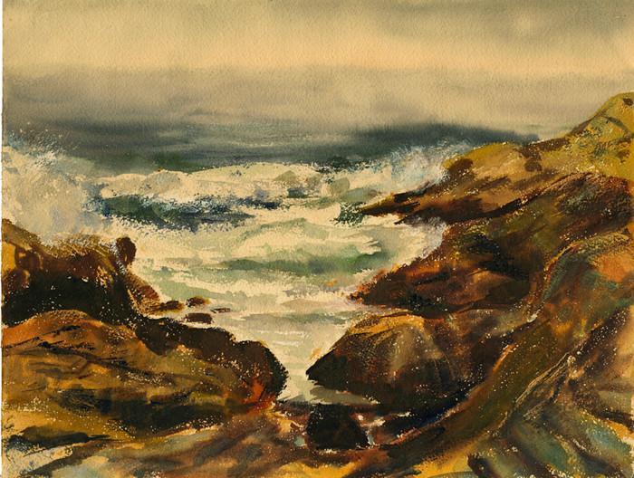 Maine Rocks, Surf, Fog