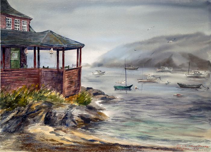 Red House with Foggy Harbor, Monhegan Island