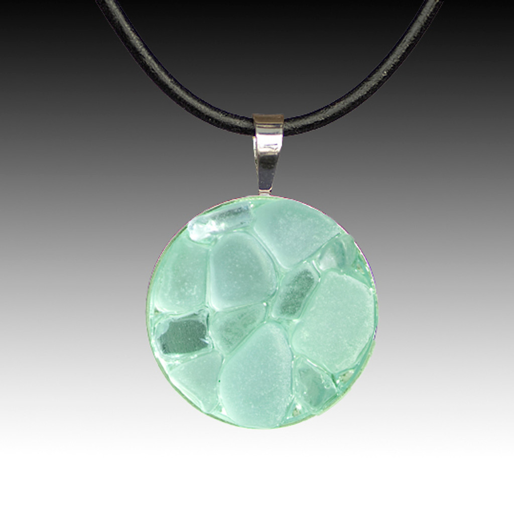 Aqua Beach Glass Pendant with Leather Necklace