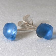 Sterling Silver Posts with Periwinkle Sea Glass