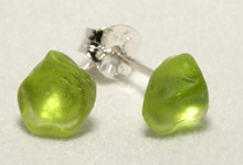Sterling Silver Posts with Lime Sea Glass