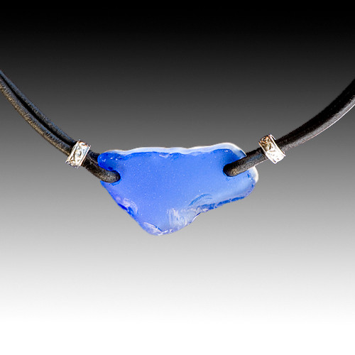 Cobalt Beach Glass with Black Leather Necklace