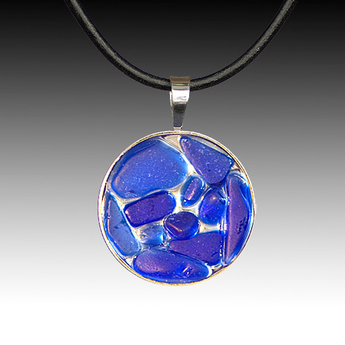 Cobalt Beach Glass Pendant with Leather Necklace