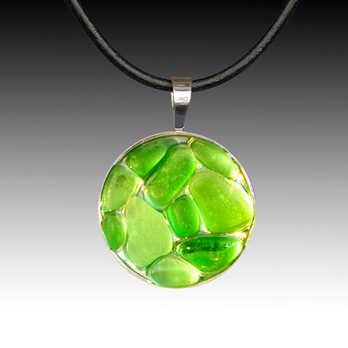 Green Beach Glass Pendant with Leather Necklace
