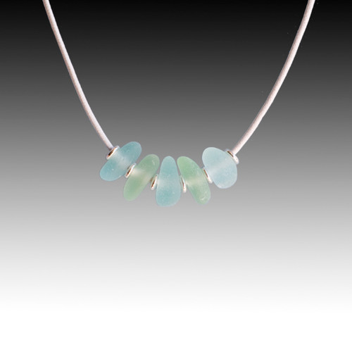 Seafoam & Aqua Beach Glass Strung Necklace