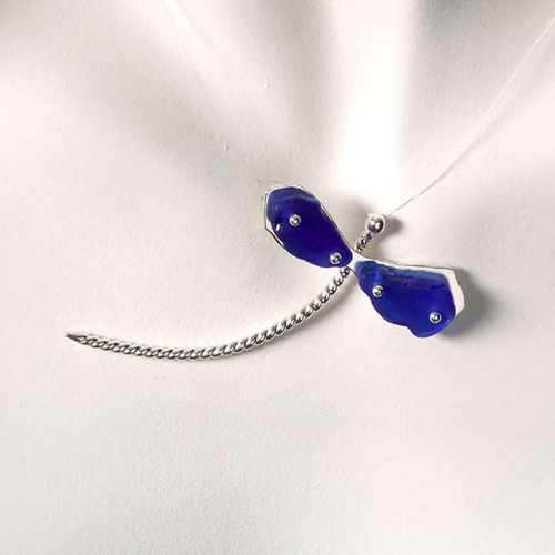 Two-wing Dragonfly Beach Glass Illusion Necklace