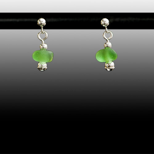 Green Sea Glass Ball Post Earrings