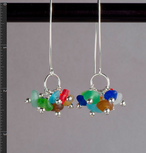 Cocktail Beach Glass Earrings