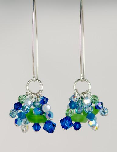Green Sea Glass & Swarovski Crystal Earrings