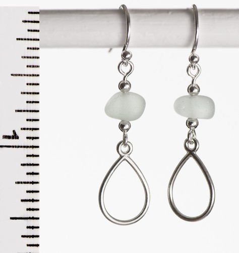 Clear Sea Glass French Wire Earrings