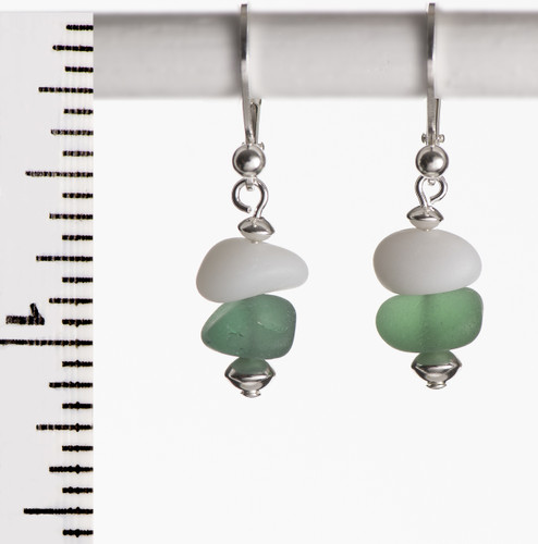 Milk Glass and Green Beach Glass Leverbacks