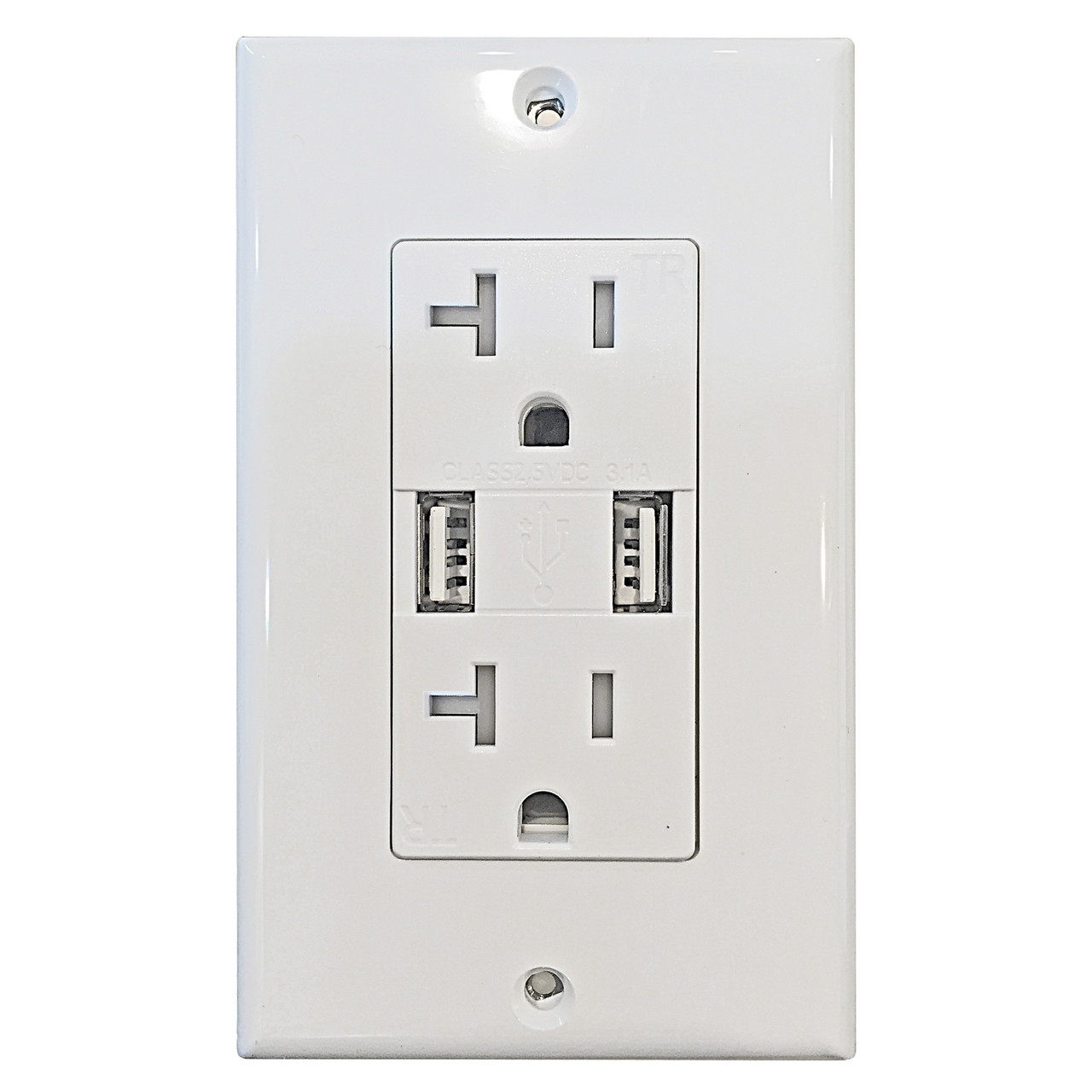 Decorative 20Amp Tamper Resistant Duplex USB Charger White - Lampsone