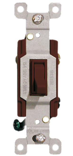 (S3BRN) Three Way Toggle Switch 15A Brown