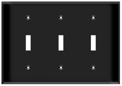 (WS3B) Toggle Switch Wall Plate 3-Gang Black