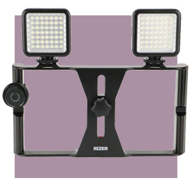 Rizer Smartphone Video Rig with 2 Dimmable LED Lights and Bluetooth Clicker Remote