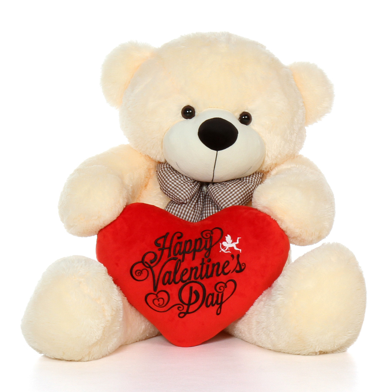 48in Life Size Happy Valentine's Day Teddy Bear Vanilla
