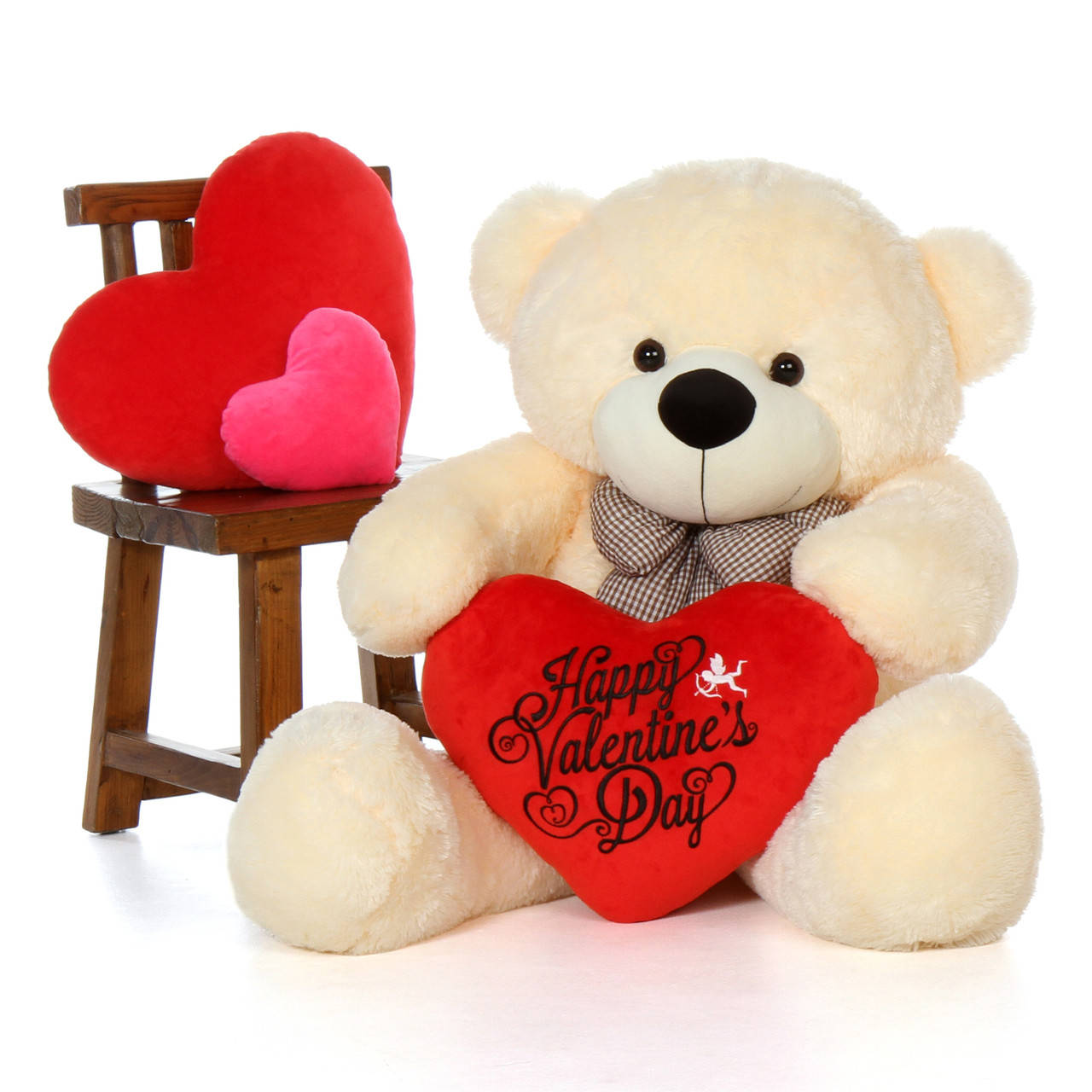 48'' Giant Teddy Bear in Soft Vanilla Fur w Happy Valentine's Day Red  Heart Pillow