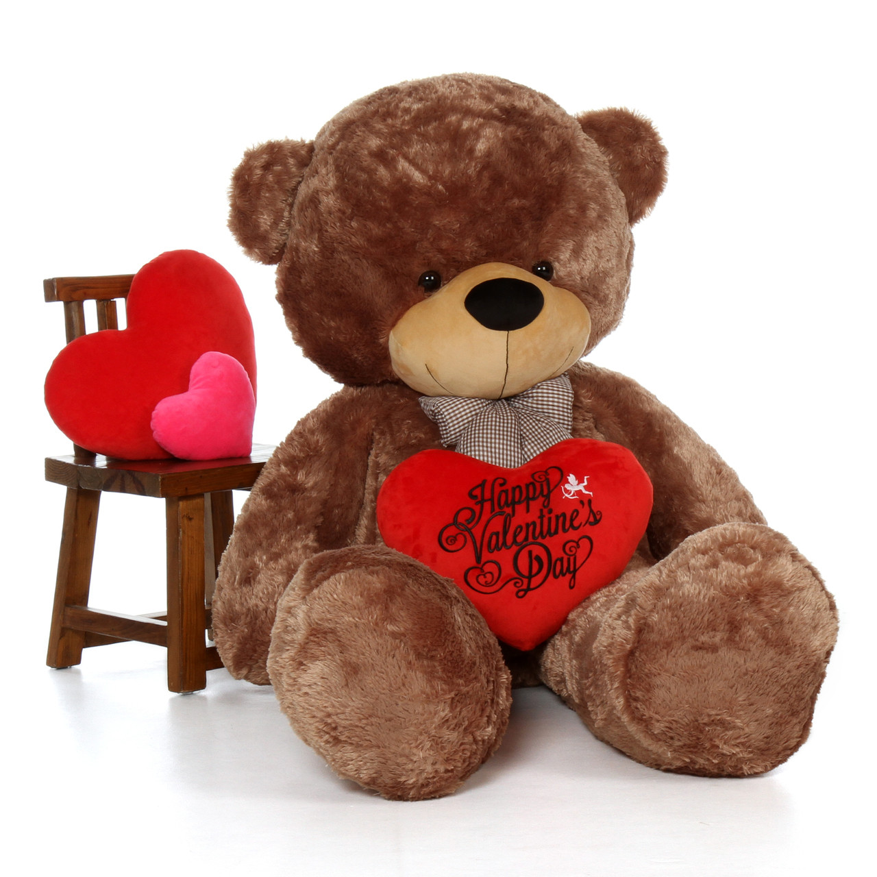 72in Sunny Cuddles Mocha Teddy Bear with Valentine's Day Heart