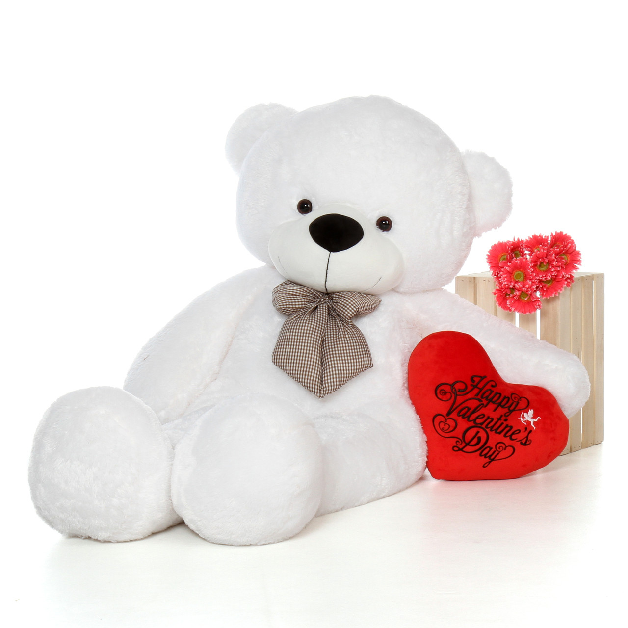 72in Huge White Happy Valentine S Day Teddy Bear With Red Heart Pillow