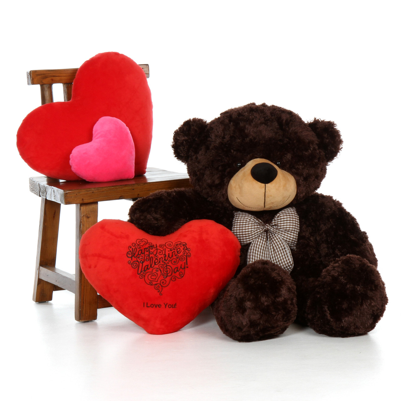 38in Dark Brown Teddy Bear w Happy Valentine's Day I Love You Red Plush Heart