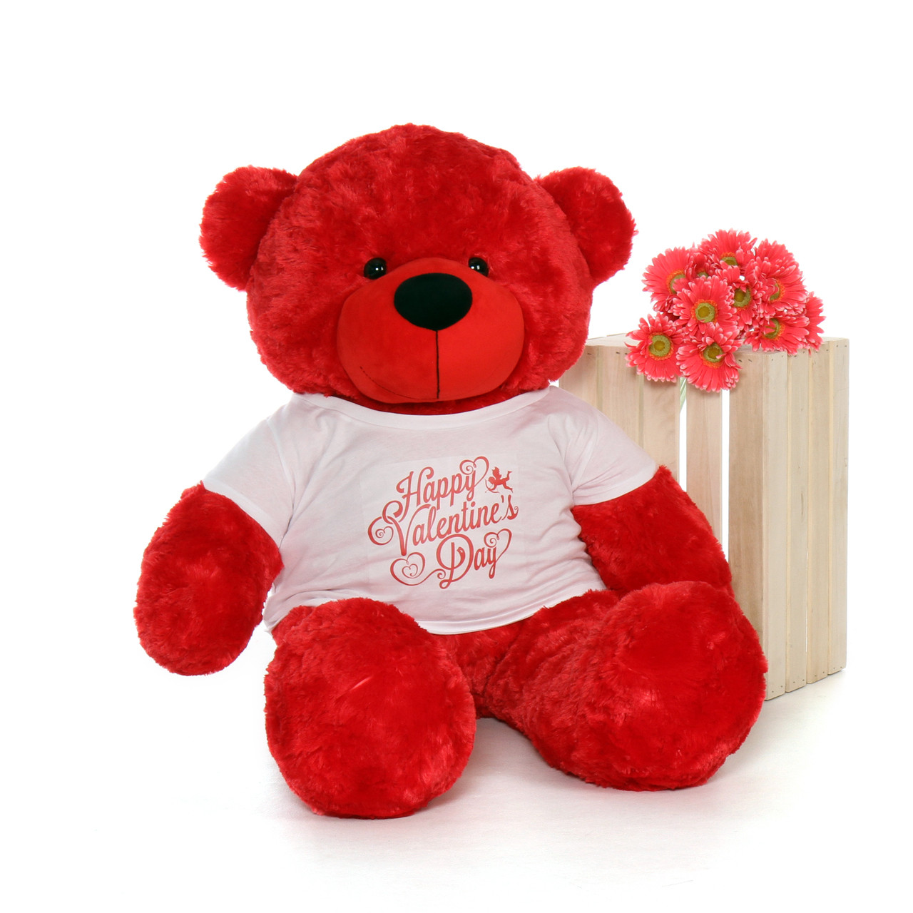 4ft Life Size Teddy Bear Wearing Happy Valentine S Day Shirt