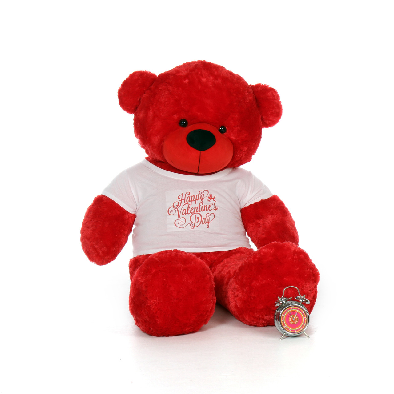60in bitsy cuddles giant red teddy bear in happy valentines day shirt